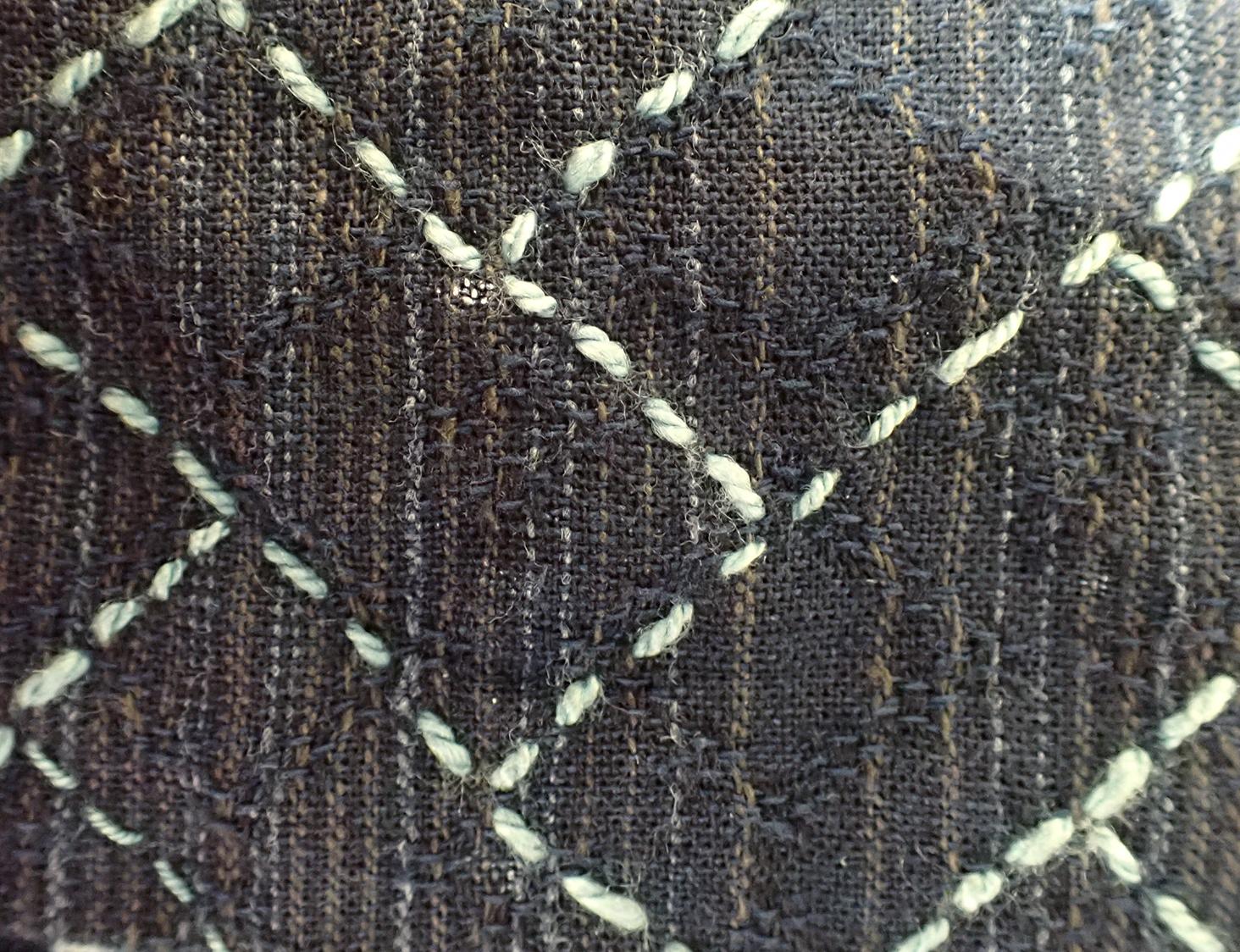 Detail of sashiko stitched with uneven handspun silk.